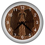 Leather-Look Black Bears Wall Clock (Silver)
