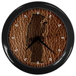 Leather-Look Black Bear Wall Clock (Black)