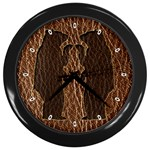 Leather-Look Black Bears Wall Clock (Black)