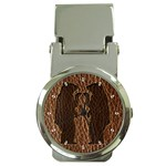 Leather-Look Black Bears Money Clip Watch