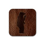 Leather-Look Black Bear Rubber Square Coaster (4 pack)