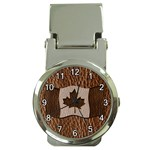 Leather-Look Canada Money Clip Watch
