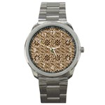 Leather-Look Ornament Sport Metal Watch