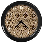 Leather-Look Ornament Wall Clock (Black)