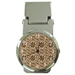 Leather-Look Ornament Money Clip Watch