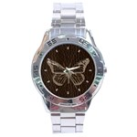 Leather-Look Butterfly Stainless Steel Analogue Men's Watch