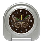 Leather-Look Butterfly Travel Alarm Clock