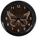 Leather-Look Butterfly Wall Clock (Black)