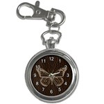 Leather-Look Butterfly Key Chain Watch