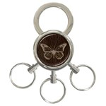 Leather-Look Butterfly 3-Ring Key Chain