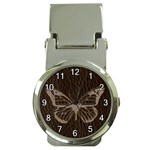 Leather-Look Butterfly Money Clip Watch