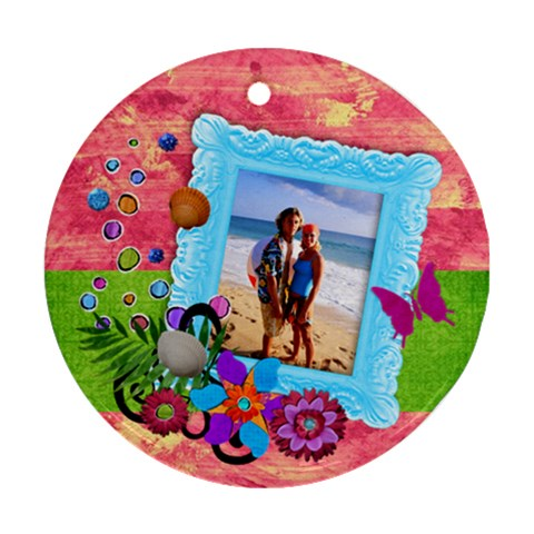 Tropical Vacation Round Ornament (1 Side) By Mikki   Ornament (round)   Nf6tmwc06qeq   Www Artscow Com Front