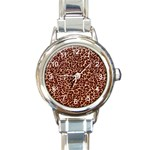 Just Leopard Round Italian Charm Watch