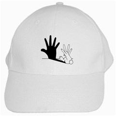 Rabbit Hand Shadow White Baseball Cap by rabbithandshadow