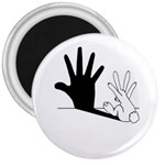 Rabbit Hand Shadow Large Magnet (Round)