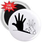 Rabbit Hand Shadow 100 Pack Large Magnet (Round)