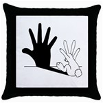 Rabbit Hand Shadow Black Throw Pillow Case