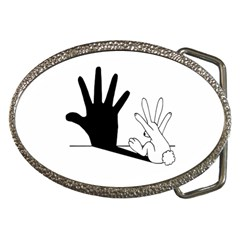 Rabbit Hand Shadow Belt Buckle (oval) by rabbithandshadow