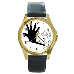Rabbit Hand Shadow Black Leather Gold Rim Watch (round) by rabbithandshadow