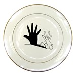 Rabbit Hand Shadow Porcelain Display Plate