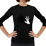 Rabbit Hand Shadow Dark Colored Long Sleeve Womens'' T-shirt