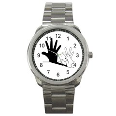 Rabbit Hand Shadow Stainless Steel Sports Watch (round) by rabbithandshadow
