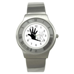 Rabbit Hand Shadow Stainless Steel Watch (round) by rabbithandshadow
