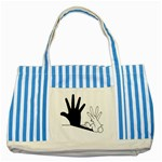 Rabbit Hand Shadow Blue Striped Tote Bag