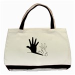 Rabbit Hand Shadow Twin-sided Black Tote Bag