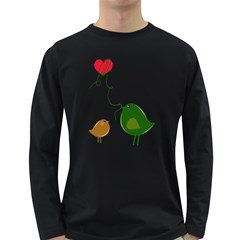 Love Birds Dark Colored Long Sleeve Mens'' T-shirt by YinYang