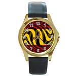 Spain Dark Round Gold Metal Watch