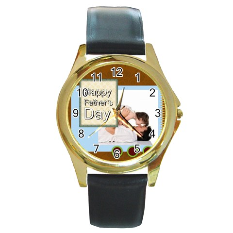 Fathers Day By Joely   Round Gold Metal Watch   Owdr7fhhkirz   Www Artscow Com Front