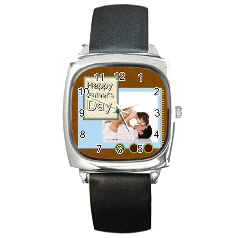 Fathers Day By Joely   Square Metal Watch   10ntr00fj0jr   Www Artscow Com Front