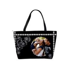 Black, White And Pearl Classic Shoulder Handbag By Lil    Classic Shoulder Handbag   Dx1n2mx9tatf   Www Artscow Com Back