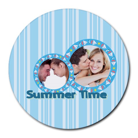Summer Time By May   Collage Round Mousepad   Bsbztpp7aflj   Www Artscow Com 8 x8 Round Mousepad - 1