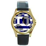 Greece Round Gold Metal Watch