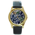 Earth Round Gold Metal Watch