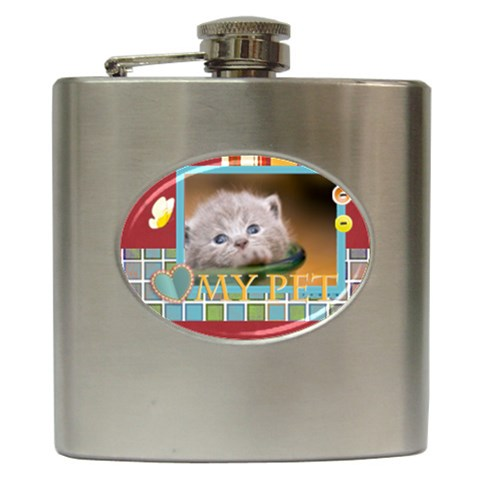 My Pet By Joely   Hip Flask (6 Oz)   72exubjhyc6h   Www Artscow Com Front