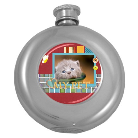 My Pet By Joely   Hip Flask (5 Oz)   Lp2bo9bj9pah   Www Artscow Com Front