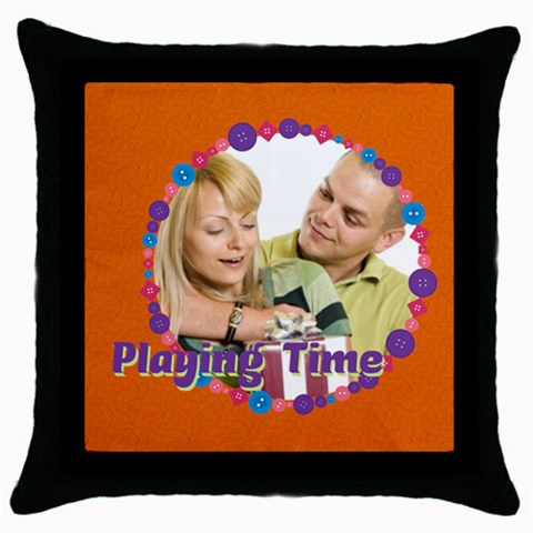 Playing Time By May   Throw Pillow Case (black)   Vc3k4ztl3e0m   Www Artscow Com Front