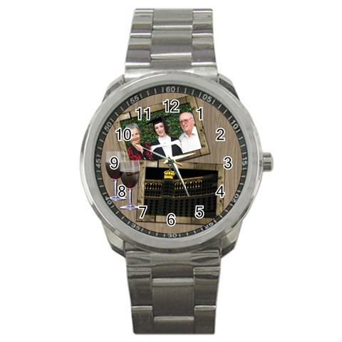 Time For A Wine Sports Watch By Deborah   Sport Metal Watch   Zh9qwhdgtc1w   Www Artscow Com Front