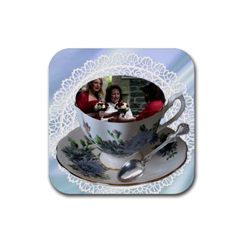 Friends In A Teacup Coaster By Deborah   Rubber Coaster (square)   Gy2yf096jet7   Www Artscow Com Front