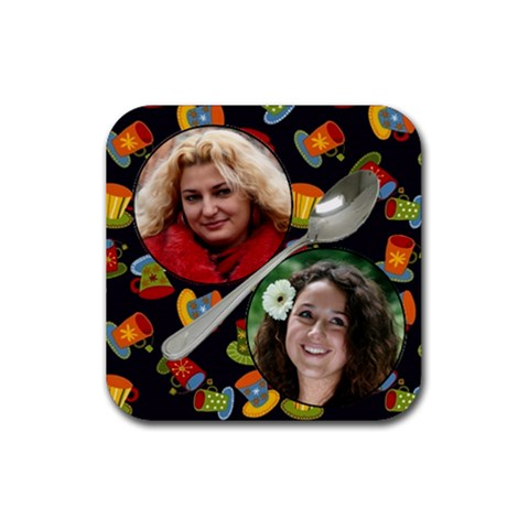 Coffee Friends Coaster By Deborah   Rubber Coaster (square)   57igqqalz4jx   Www Artscow Com Front