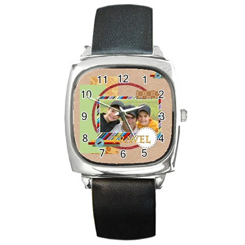 Travel By Joely   Square Metal Watch   3eahq0d4fw8a   Www Artscow Com Front