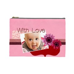 With Love By Joely   Cosmetic Bag (large)   Sdkchd0891dg   Www Artscow Com Front