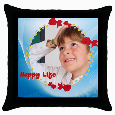 Happylife By May   Throw Pillow Case (black)   Z53arnh2wbs9   Www Artscow Com Front