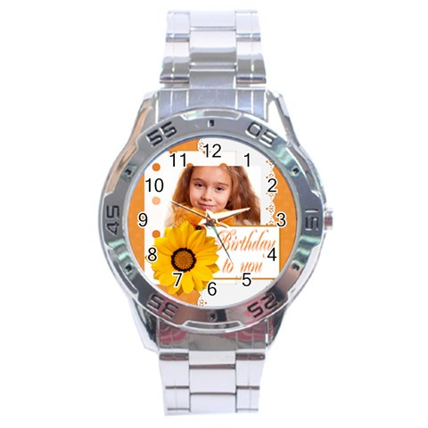 Happy Birthday By Joely   Stainless Steel Analogue Watch   1c0wa6crsjf9   Www Artscow Com Front