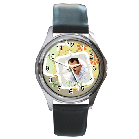 My Dad By Wood Johnson   Round Metal Watch   Myqwzymce92u   Www Artscow Com Front