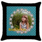 beautiful girl - Throw Pillow Case (Black)