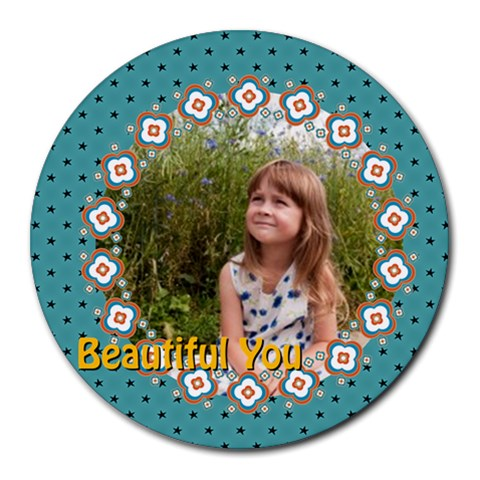 Beautiful Girl By May   Round Mousepad   7p8ccp6flvoz   Www Artscow Com Front